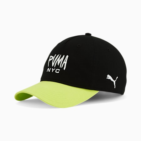 NYC PUMA Scratch Dad Cap, BLACK/GREEN, small