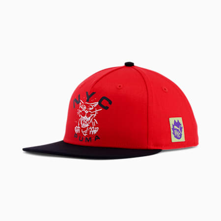 NYC Got Your Back Flat Brim Cap, RED, small