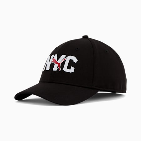 NYC Type Logo Stretchfit Cap, BLACK/RED, small