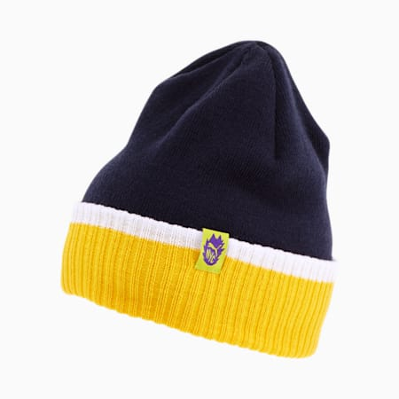 NYC Patch Contrast Rib Cuff Beanie, NAVY, small