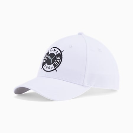 PUMA NYC Badge Baseball Cap, WHITE/BLACK, small