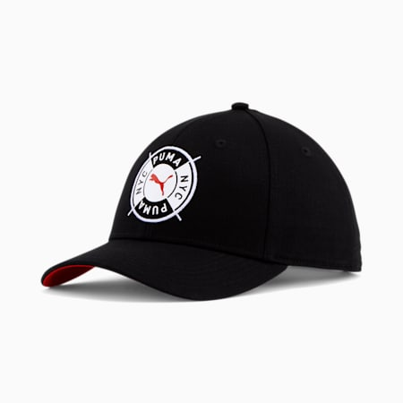 PUMA NYC Badge Baseball Cap, BLACK/RED, small