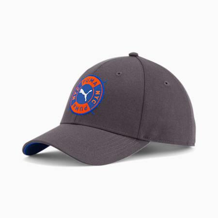 PUMA NYC Badge Baseball Cap, GREY/BLUE, small
