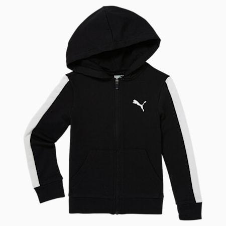 Sudadera con capucha con cierre completo ModernSports para niños pequeños, PUMA BLACK, pequeño