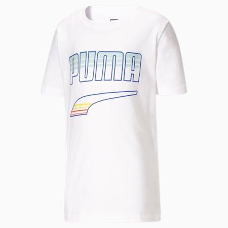 Camiseta estampada Rebel Pack JR, PUMA WHITE, pequeño