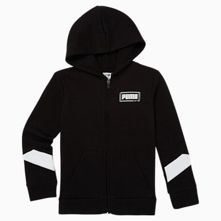 Sudadera con capucha de polar con cierre completo Rebel para niños pequeños, PUMA BLACK, pequeño