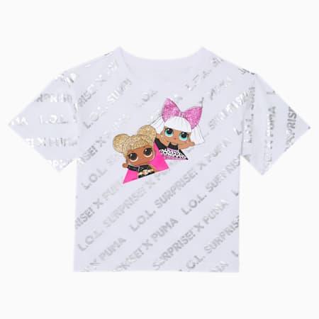 PUMA x L.O.L. SURPRISE! Little Kids' Metallic Fashion Tee, PUMA WHITE, small
