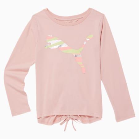 No.1 Logo Girls' Long Sleeve Fashion Top JR, PEACH SKIN, small