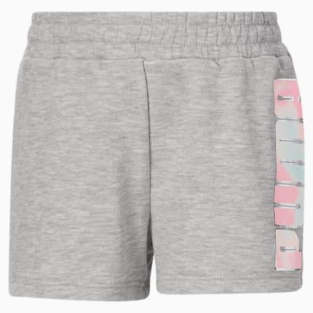Shorts con logo Nº 1 JR para niñas, LIGHT HEATHER GREY, pequeño