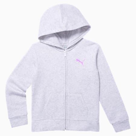 Essentials Girls' Fleece Zip Up Hoodie JR, WHITE HEATHER, small