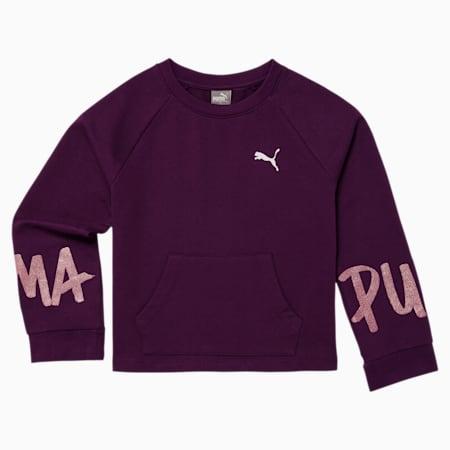 Tag Girls' Crewneck Sweatshirt JR, PLUM PURPLE, small