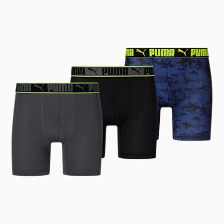 Bóxeres de estilo deportivo para hombre [paquete de 3], AZUL / NEGRO, pequeño