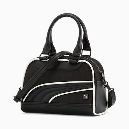 Mini sac à bandoulière et anses, femme, noir/blanc, petit