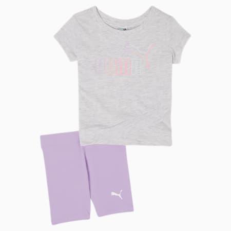 Conjunto de camiseta y shorts tipo ciclista para bebé, WHITE HEATHER, pequeño