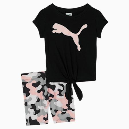 Conjunto de camiseta y shorts tipo ciclista para bebé, PUMA BLACK, pequeño