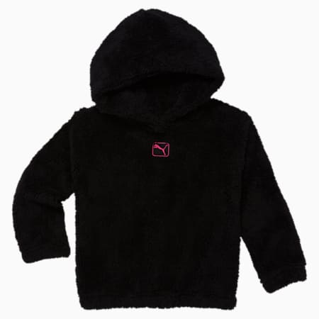 Sherpa Little Kids' Hoodie, PUMA BLACK, small