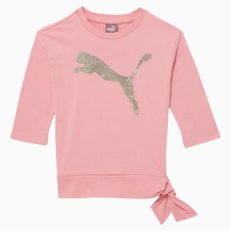 Tag Little Kids' 3/4 Sleeve Side Knot Tee, BRIDAL ROSE, small
