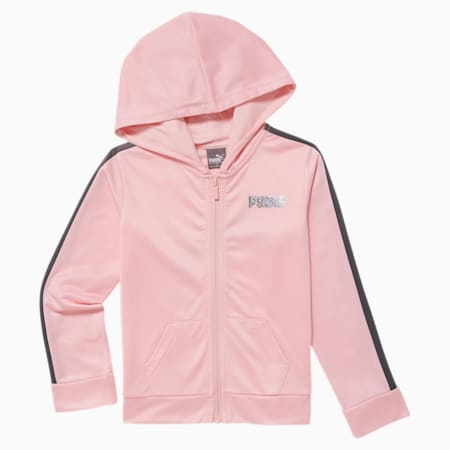 Big Cat Little Kids' Track Hoodie, CRYSTAL ROSE, small