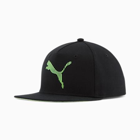 Gorra ajustable con cierre posterior PUMA Anvile JR, Negro/Verde, pequeño