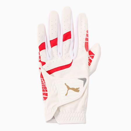 ゴルフ パウンス グリップ グローブ 左手用, BRIGHT WHITE-PUMA RED, small-JPN