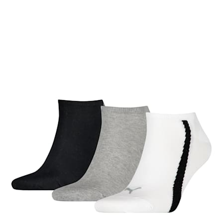 PUMA Unisex Lifestyle Trainer Socks (3 Pack), white-grey-black, small-SEA