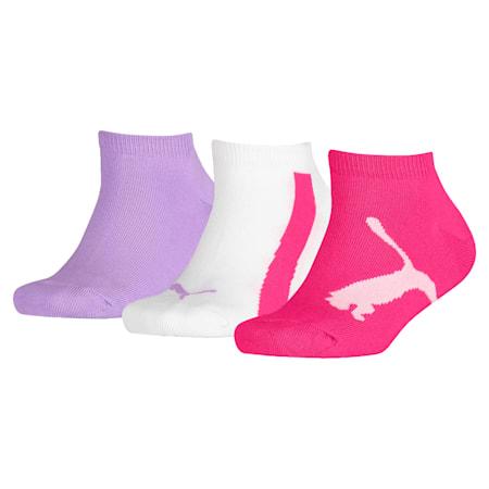 Kids' Lifestyle Trainer Socks 3 Pack, beetroot purple-white-purple, small