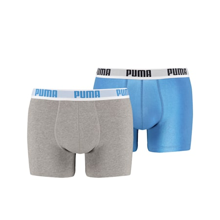PUMA Basic Men's Boxers (2 Pack), blue-grey, small