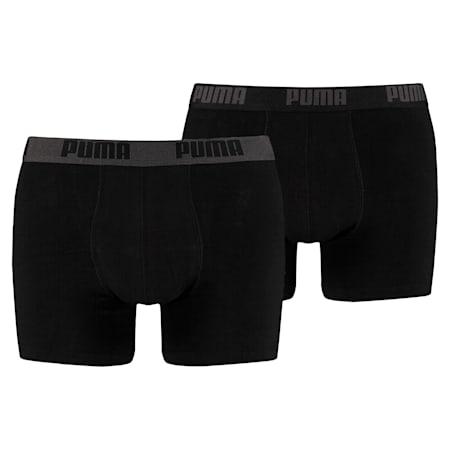 PUMA Basic Men's Boxers (2 Pack), black / black, small