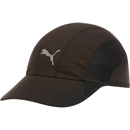 Lightweight Runner Hat, Black/Silver, small