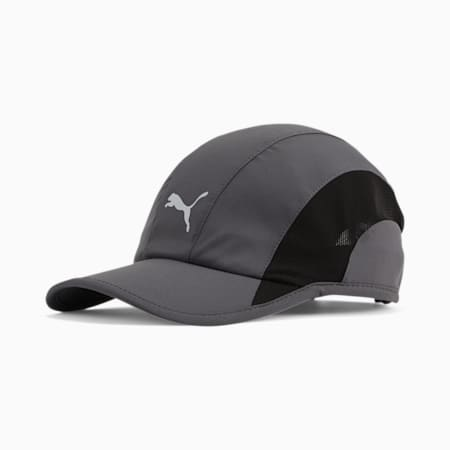 Lightweight Runner Hat, Grey/Black, small