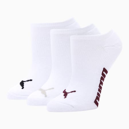 Women's Invisible No Show Socks (3 Pack), WHITE, small