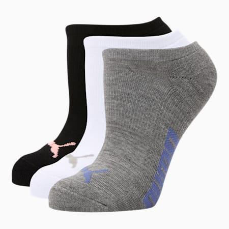 Chaussettes invisibles, femme (paquet de 3), BLEU/GRIS, petit