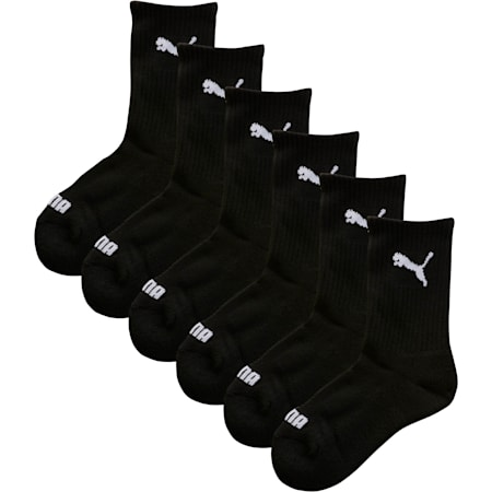 Boys' Crew Socks (6 Pack), black, small