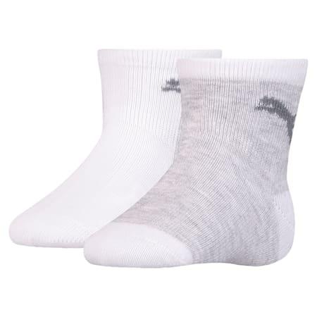 Mini Cats Anti-Slip Babies' Socks 2 Pack, white, small