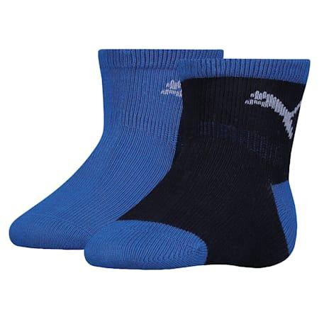 Mini Cats Anti-Slip Babies' Socks 2 Pack, powder blue, small