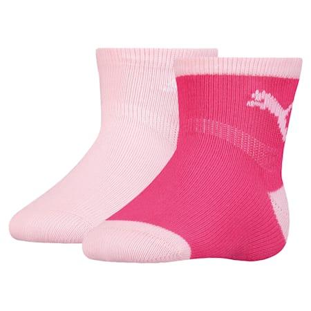 Mini Cats Anti-Slip Babies' Socks 2 Pack, raspberry, small