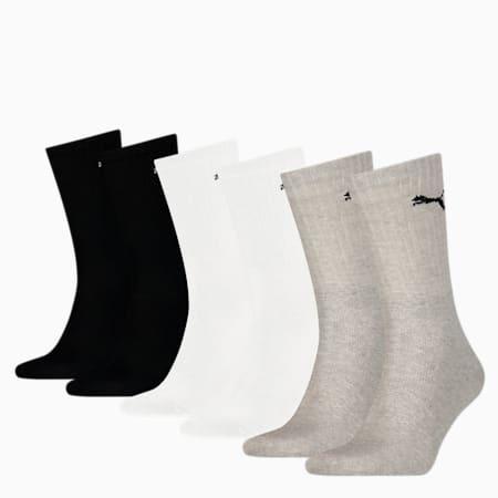 PUMA Unisex Sport Crew Socks 6 pack, grey/white/black, small