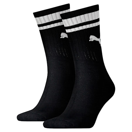 Heritage Striped Crew Socks 2 Pack, black, small