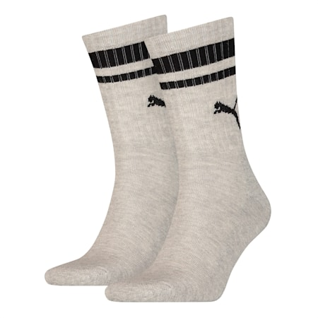 Heritage Striped Crew Socks 2 Pack, grey, small