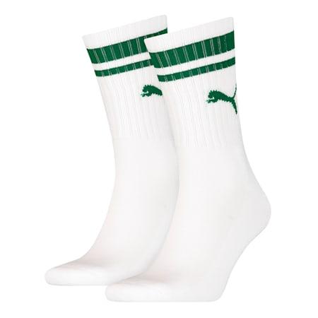 Heritage Gestreifte Crew Socken 2er Pack, white / green, small