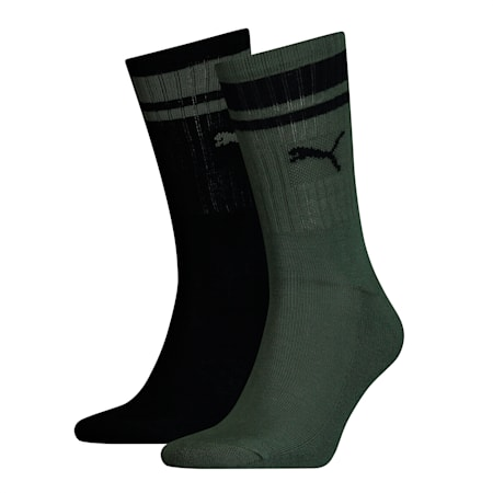 Heritage Striped Crew Socks 2 Pack, green, small