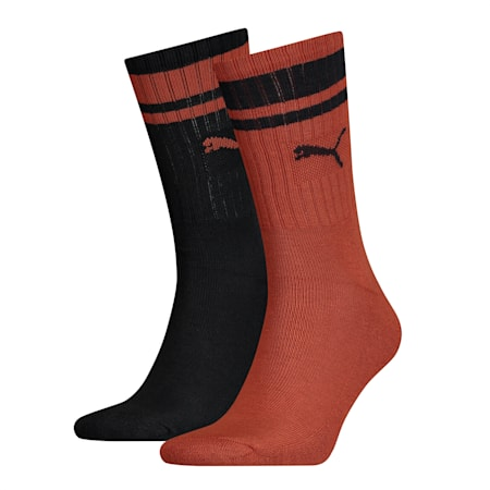 Heritage Striped Crew Socks 2 Pack, brown, small