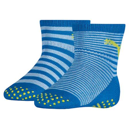 Lot de deux paires de chaussettes antidérapantes pour bébés, blue green combo, small