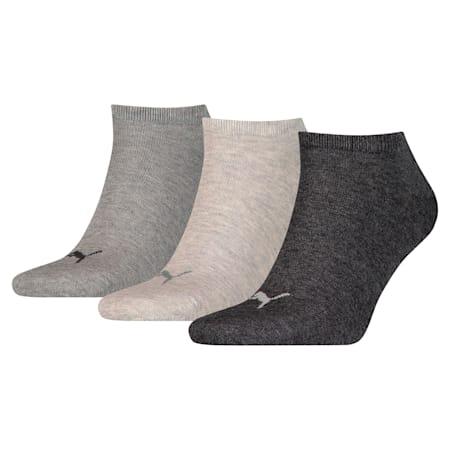 Uniseks Plain sneakersokken 3 paar, anthraci/l mel grey/m mel gr, small