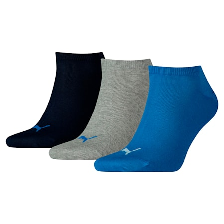 Unisex Plain Sneaker Socks 3 pack, blue / grey melange, small