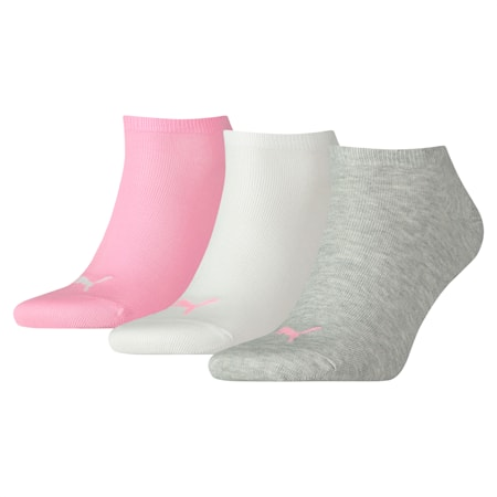 PUMA Unisex Plain Sneaker Trainer Socks 3 pack, prism pink, small