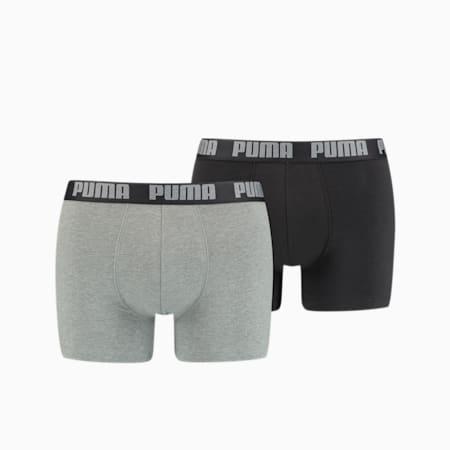 Men's Basic Boxer Shorts 2 Pack, dark grey melange / black, small