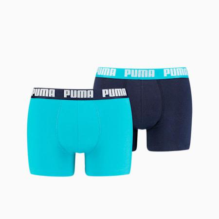 Men's Basic Boxer Shorts 2 Pack, aqua / blue, small