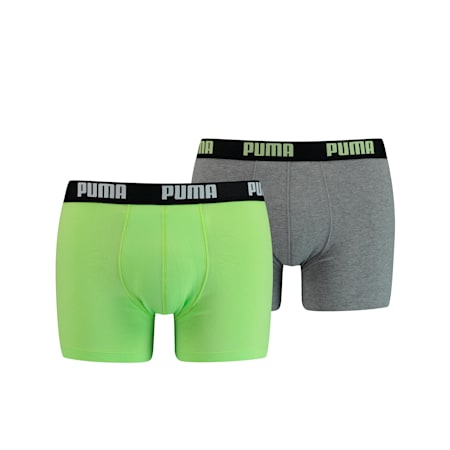 PUMA Basic boxershorts voor heren (set van 2), lime, small