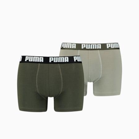 Men's Basic Boxer Shorts 2 Pack, dark green combo, small